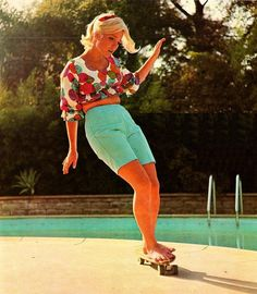 Poolside surfing 60s style