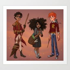 Buy The Golden Trio Art Print by Loquacious Literature. Worldwide shipping available at Society6.com. Just one of millions of high quality products available.