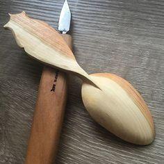 This weeks #spoon in #cherry #handmade #spooncarving #bushcraft #sloyd #handmade #kingspoon #northbayforge #gransforsbruks #mora #woodworking