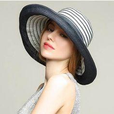 12686947c20f53 Striped wide brim straw hat for women UV summer beach sun hats package