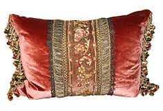 Pillow w/ 19th-C. French Metallic Lace