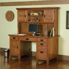 Home Style 5180-184 Arts and Crafts Double Pedestal Desk and Hutch, Cottage Oak Finish by Home Styles, http://www.amazon.com/dp/B00244546U/ref=cm_sw_r_pi_dp_ihV8rb03AR6R1