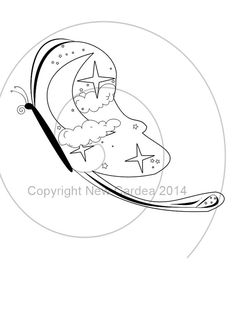 Celestial Butterfly ~ Digital Stamp for scrapbooking, card making or just print and color. On Etsy!