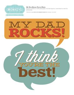 Free Dad Rocks Photo Props - Three Little Monkeys Studio Printable Crafts, Party Printables, Photo Booth Backdrop, Photo Props, Family Day Care, Dad Rocks, Silly Pictures, Mother's Day Photos, Fathers Day Photo