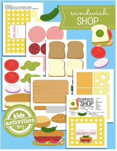 Free Printable of the Day - Use the free printable Sandwich Shop from Kids Activities Blog for a fun indoor picnic with the kiddos.