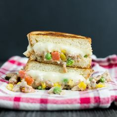 The Chicken Pot Pie Grilled Cheese, a delicious sandwich inspired by a comfort food classic!