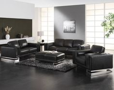 Living Room Graceful Black And Grey Ideas With Wall Paint Also Leather Sofa Sets Plus Ottoman On Fluffy Rug Gorgeous Gray