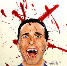 Acrylic painting of the character from American Psycho, Patrick Bateman, played by Christian Bale. Bateman is screaming, covered in blood against a white background with blood spatters. Phil Collins, Daisy, Blood, Fictional Characters, Art, Art Background, Daisies, Kunst, Bellis Perennis