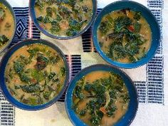 One of my favorite African combinations is peanut and greens!  Delicious, healthy and easy to make!  Here is a recipe but you can also just wing it with chopped onion, tomato and some seasonings (magi cube is the choice in Congo!) add in your greens and peanut (and pili pili if you like!)  Congolese Peanut Vegetable Soup.