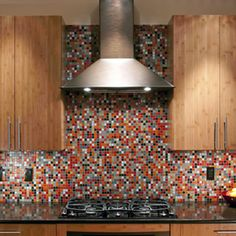 Modwalls Brio Glass Mosaic Tile Blend: Emma looks fab with these bamboo kitchen cabinets!  www.modwalls.com
