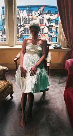 The subtly off-kilter paintings of Seth Armstrong are blowing my mind without me even realizing it. Chris Russell, Pink Truck, Blue Building, Big Yellow, Red Rooms, Hyperrealism, Girl Dancing, American Art, Pink Ladies