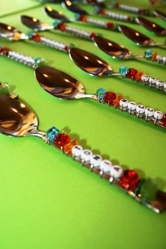 Beads wired onto spoons. Cute for favors for birthday party or shower / http://milliondollarsmilecelebrations.blogspot.ca/2011/11/breakfast-meet-eat_05.html