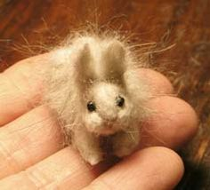Wendy Francisco ~ Miniature Dollhouse Angora Bunny Rabbits  Hand Felted from Merino, Alpaca and Angora Rabbit Wool! (Crack O' Noon Studios)