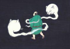 まとい猫 #illustration #イラスト #絵 #和風 #猫 #動物 #妖怪 #嘘つき