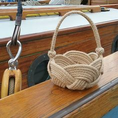 Rustic Flower Girl Basket, Natural Jute Rope Knot, Country or Coastal Wedding, Bridesmaid's basket. Available in Small or Medium. Rustic Flower Girl Basket Natural Jute Rope Knot Country or image 1 Egg Basket, Rope Basket, Basket Weaving, Rustic Flower Girls, Rustic Flowers, Nautical Wedding, Rustic Wedding, Nautical Rope, Wedding Country
