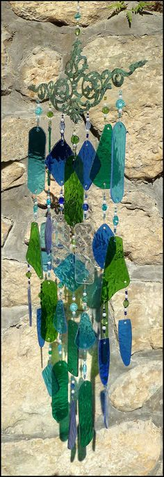 Windchime Stained Glass Wind Chime in Aqua by StainedGlassDelight