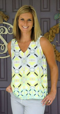 Sweet Rain - Toledo V Neck Blouse  Love the colors and neckline! This would go great with my gray capris!