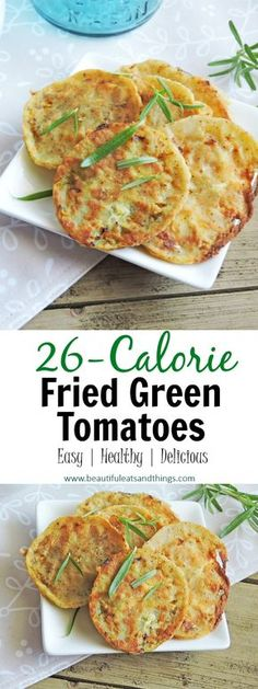 ONLY 26 Calories! These Fried Green Tomatoes are cooked to perfection, but without the extra calories and fat! low calorie recipes | low calorie snacks | low fat recipes | oven fried green tomatoes | healthy snack recipes | healthy recipes | healthy meal ideas | weight watchers | fitness | weight loss recipes