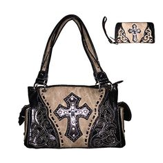 Premium Rhinestone Cross Concealed Carry Embroidered Leat…