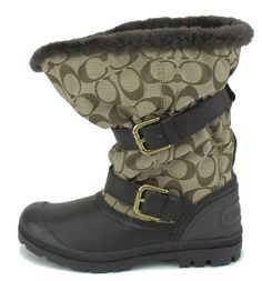 Coach Holiway Womens Size 6.5 Brown Textile Fashion Mid-Calf Boots - http://shoes.goshopinterest.com/womens/boots/snow/coach-holiway-womens-size-6-5-brown-textile-fashion-mid-calf-boots/