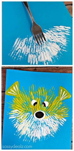Kid's Puffer Fish Craft Using a Fork - Fun kids art project.. so many different ideas! Kittens, teddy bears, fireworks...