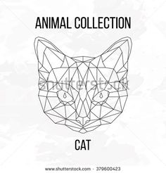 Cat head geometric lines decoration silhouette isolated on white background vintage design element picture