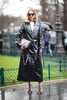 The Vinyl coat. Seriously chic and trendy, which can take your outfit from day to night.