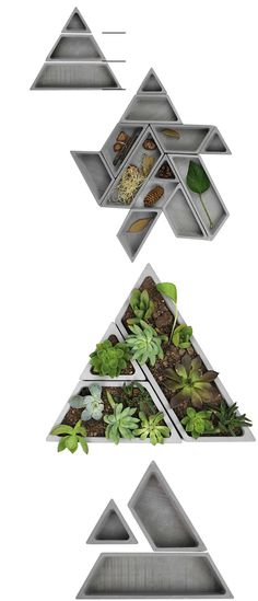 Geometric  Concrete  Desk Tidy Modular Office Desk Organizer Succulent Planter / Plant Pot / Flower Pot