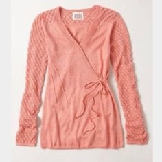 ROSIE NEIRA $88 Texture Twist  Pullover faux wrap There is a small hole at the right underarm of sweater, photo 3. This may be worn as is or repaired if desired. Color is most true in first photo. Otherwise, excellent condition! Anthropologie Sweaters V-Necks