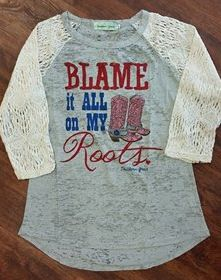 Blame It All On My Roots Burnout Baseball Tee