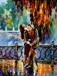 Kiss Under The Rain — PALETTE KNIFE Oil Painting on Canvas by AfremovArtStudio,
