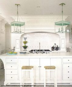 White kitchen with turquoise light fixtures / The Urban Electric Co. Home, Home Kitchens, Kitchen Remodel, Kitchen Design, Kitchen Inspirations, Kitchen Decor, Modern Kitchen, Country Kitchen, Kitchen Interior