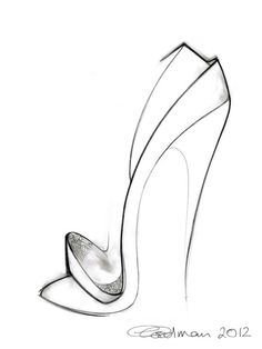 Fashion illustration is all about exaggeration.  Georgina Goodman shoe sketch.
