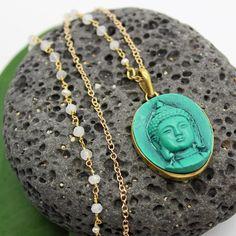 Buddha Necklace - Tibetan Pendant, Moonstone Necklace, Beaded Necklace, Yoga Jewelry, Meditation Jewelry, Rosary Chain by HaoleGirlHaikuZen on Etsy