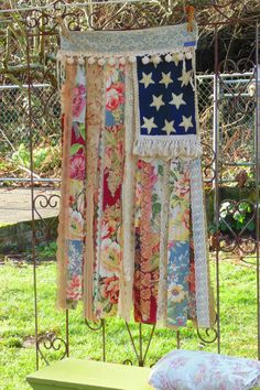 Shabby Chic American flag country cottage distressed vintage lace wall textile fiber art home decor vintage OOAK handmade upcycled
