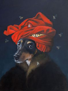 Rat Terrier Honey Bees Red Turban Original by ClairHartmannFineArt