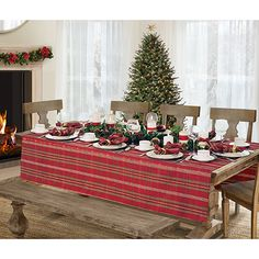Elrene Home Fashions 60 in. W x 84 in. L Red/Green Elrene Shimmering Plaid Holiday Christmas Tablecloth