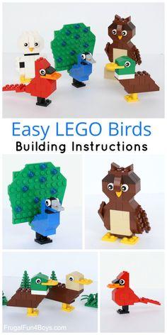 Simple LEGO Birds Building Instructions - Build ducks, a cardinal, owls, and a LEGO peacock