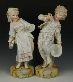 "Antique large 15"" german Heubach style pair of figurines"