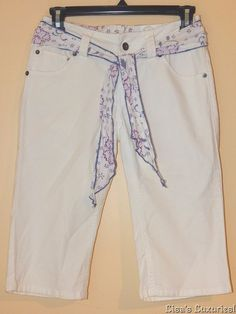 NWT Women's Cropped Pants sz 0 Stretch with Floral Belt SO Kohl's brand #SO #CapriCropped