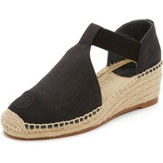 Tory Burch Leonard Wedge Espadrilles ($200) ❤ liked on Polyvore featuring shoes, sandals, black, black wedge espadrilles, black wedge shoes, wedges shoes, platform espadrilles and black sandals