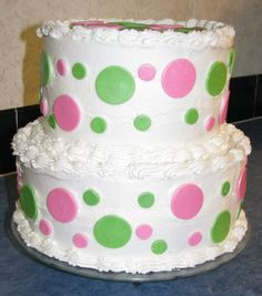 American Girl Bistro Polka Dots - This is a recreation of the birthday cakes served at the American Girl Bistros.  I made it for my cousin's daughter's 10th birthday.  She went to the Bistro in Atlanta a few weeks back and wanted the same cake for her party at home.  The cake is WASC and Chocolate WASC iced in buttercream with fondant dots.