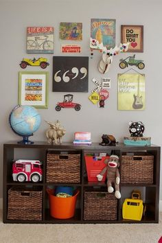 Reids Excellent Eclectic Room, cute idea for wall in new room.  love the pics and the book shelf for storage.