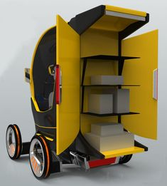 e-Cargo Box : Electric Cargo Vehicle for Quick and Easy Deliveries In A Crowded City - Tuvie Tricycle Bike, E Mobility, Future Transportation, Concept Motorcycles, Robot Concept Art, Cargo Bike, Smart Car, City Car, Future Car