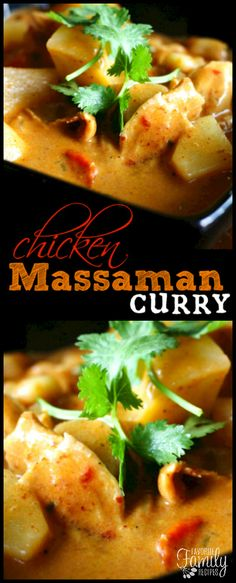 Chicken Massaman Curry is one of my favorite savory Thai curry dishes. With chi… The Massaman Curry Chicken is one of my most tasty Thai curry dishes. With chicken and potatoes cooked in a tasty sauce, it's delicious! via Favorite Family Recipes Thai Massaman Curry, Red Curry Recipe, Chicken And Potato Curry, Indian Food Recipes, Asian Recipes, Healthy Recipes, Ethnic Recipes, Chicken