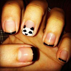 black french tip nails with panda face nail art