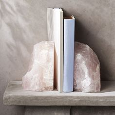 Rose Quartz Crystal Bookends is part of Home Accessories Design Rose Quartz These sparkling Rose Quartz Bookends are hand polished, revealing the cloudy pink shade of Rose Quartz Each piece is subt - Crystals And Gemstones, Stones And Crystals, Crystal Bedroom, Do It Yourself Inspiration, Crystal Aesthetic, Crystals In The Home, Crystal Decor, Crystal Altar, Rose Quartz Crystal