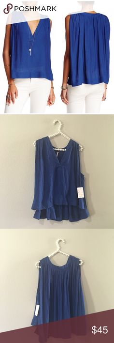 Beautiful Free People Flowy Cobalt Top So pretty and perfect for any season! Super soft and perfect dressed up or down. Brand new with tags. No trades!! 08261650tmr Free People Tops Blouses