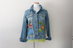 Frida Kahlo Women's Denim Jean Jacket Size XL / Funky Unique Boho Clothing / Day of the Dead by RelovedClothingCo on Etsy