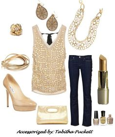 """Gold is everywhere this fall, I love this look with the Premier Designs, """"Ritz"""" Necklace, """"Gold Lace"""" earrings, """"Flirty"""" Bracelets, and """"In Bloom"""" ring."""